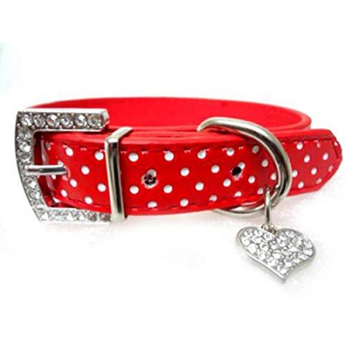 Collares de perro con diamantes de imitación para perros pequeños, lazo de cristal brillante, collar de piel sintética, collar para cachorros y gatos