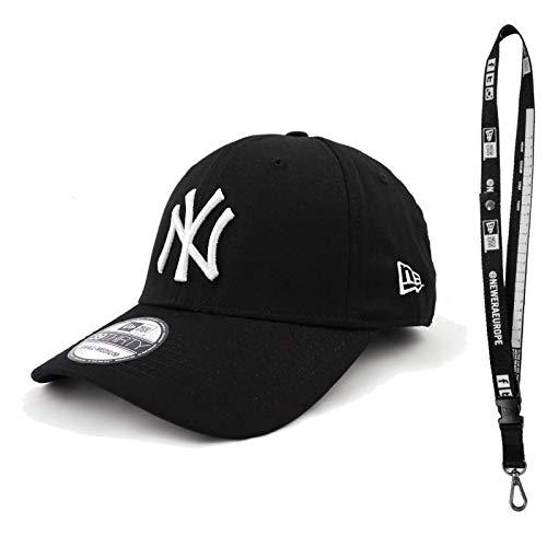 New Era 3930 Caps - Capsule con Flex in diverse misure – Berretto NFL per il giusto football – con cordino NFL, League Basic New York Yankees nero/bianco, Large/X-Large