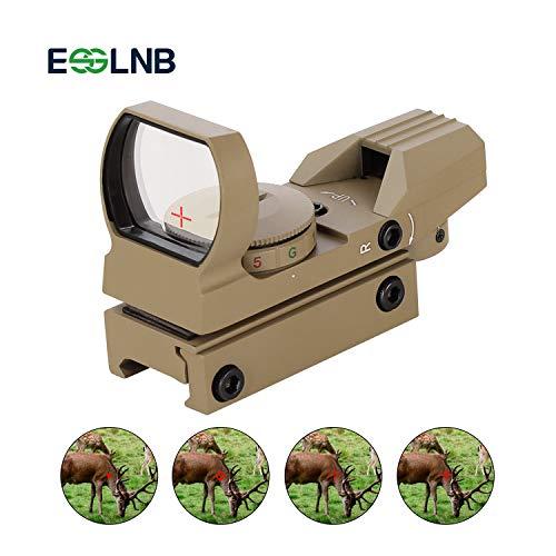 ESSLNB Red Dot Visier Airsoft Scope Leuchtpunktvisier Rotpunktvisier für 22mm/20mm Schiene mit 4 Absehen und Schutzkappe