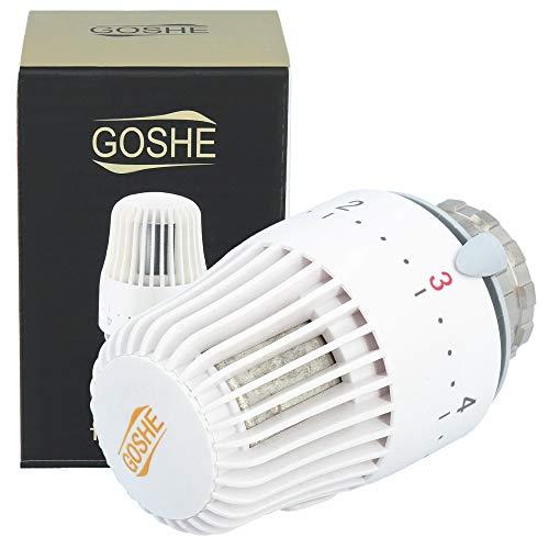 GOSHE Heizkörper Thermostatkopf mit Blockade M30x1,5 Weiß | Thermostat Heizung 8-30°C Thermostatventile Heizkörperthermostat Heizkörper Ventil Adapter Heizungsventil Heizungsthermostat Ventilaufsatz