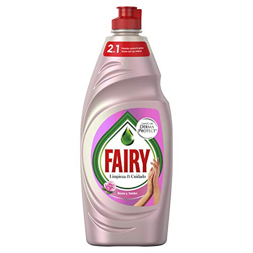 Fairy Limpieza & Cuidado Rosa y Satén Lavavajillas Líquido 650 ml, con protección de la Dermis beneficia la piel y combate la grasa