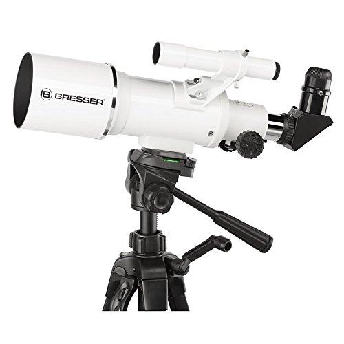 Bresser Optics Classic 70/350 Refractor 140x Negro, Blanco - Telescopio (65 cm, 2,3 kg, Aluminio, Aluminio)