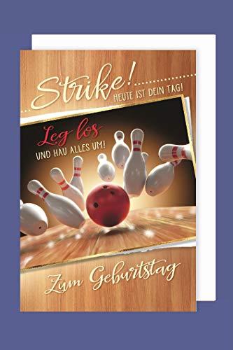 Bowling Hobby Sport Geburtstag Karte Grußkarte Kegel Strike 16x11cm