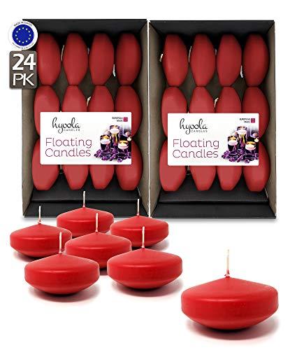 Hyoola Premium Velas flotantes Rojas 7,6 cm – 8 Horas – 24 Unidades – Fabricado en Europa