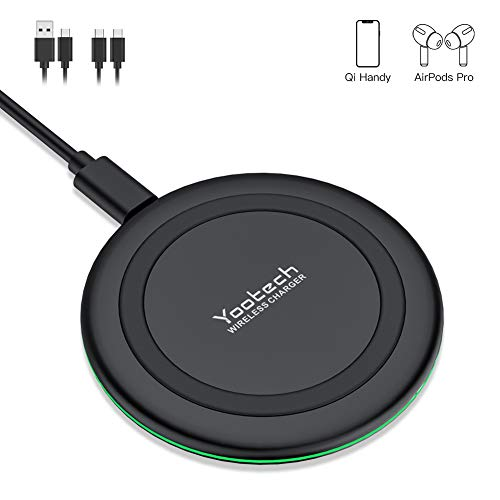 yootech 10W Wireless Charger, Fast Wireless Ladestation QI drahtloses Ladegerät für iPhone 11/11 Pro/11 Pro Max/XS MAX/XR/XS/X/8/8 Plus, Samsung Galaxy S20/Note 10/Note 9/S10/S9/S8 usw, AirPods