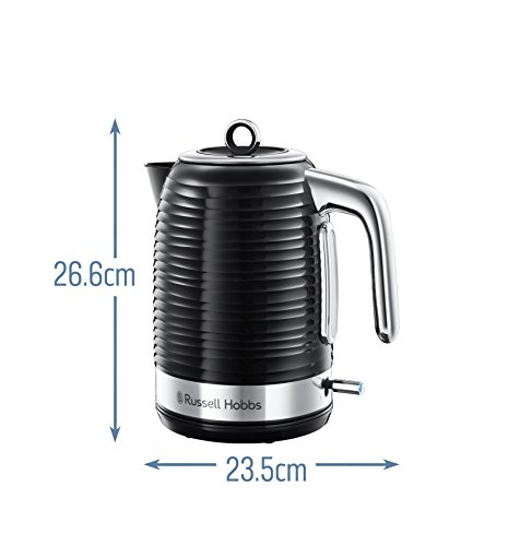 Russell Hobbs 24361 Inspire Electric Kettle, 3000 W, 1.7 Litre, Black with Chrome Accents