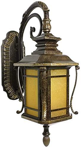 Lámpara de pared Retro Aplique, Lámpara de pared rústica Retro Lámpara exterior E27 Al aire libre Impermeable Vintage lámpara de pared de aluminio Lámpara de cristal marrón Lámpara de lámpara para jar