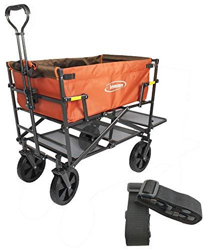 Lemmy Bollerwagen faltbar LMY300, klappbar, Doppeldecker (Mit Festgurt, Orange)