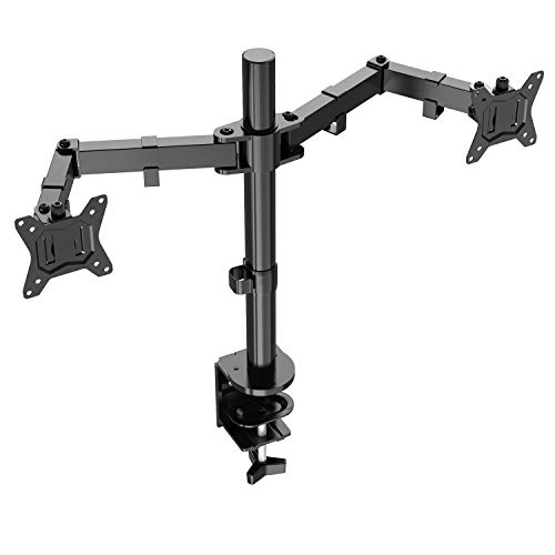 ErGear Double Support Ecran PC pour 13'-32' de Construction Robuste Hauteur Ergonomique Inclinaison réglable à ±85° Pivotement à 180° Rotation à 360° Support de Moniteur Charge Maximal de 8kg