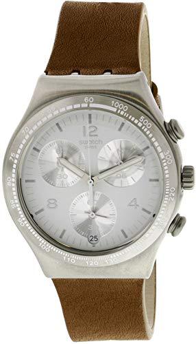 Swatch Botillon YCS597 Silver Leather Swiss Quartz Fashion Watch