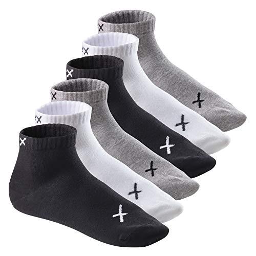 CFLEX Lifestyle Herren und Damen Kurzschaft Socken (6 Paar), Baumwoll Quarter Socken - Black-Grey-White Mix 43-46