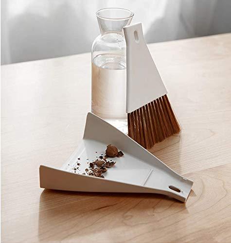 ほうきちりとりセットミニデスクかわいいおしゃれ箒プラスチック卓上室内パソコン周り生活雑貨キッチンペット用にも掃除しっかり食卓携帯便利収納便利(コーヒー+ホワイトー2セット)