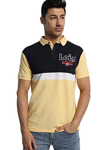 LOIS JEANS - Polo Tricolor con Escudo para Hombre   De Algodón   Tallaje en Pulgadas   Talla Inch