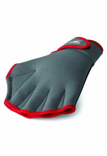 Speedo Unisex Swim Training Gloves Aquatic Fitness , Charcoal/Red, Small