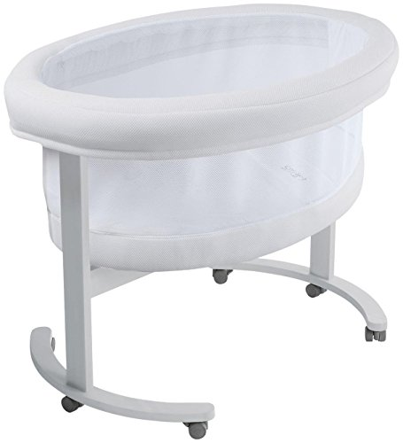 For Sale! Micuna Smart Fresh Wooden and Fabric Bassinet, Metallic/White