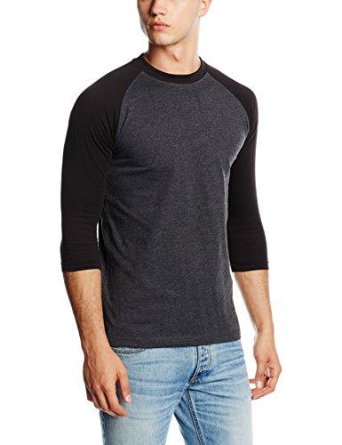 Urban Classics T-shirt à manches longues pour homme Multicolore Gris/Noir XX-Large