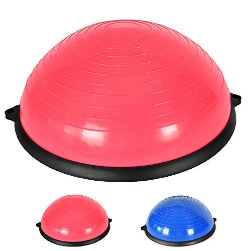 MSPORTS Balance Ball Trainer Premium | Gymnastikball mit Holzplatte + Expander & Pumpe - beidseitig nutzbar | Balance Trainer/Board für Gleichgewichtsübungen (Red)
