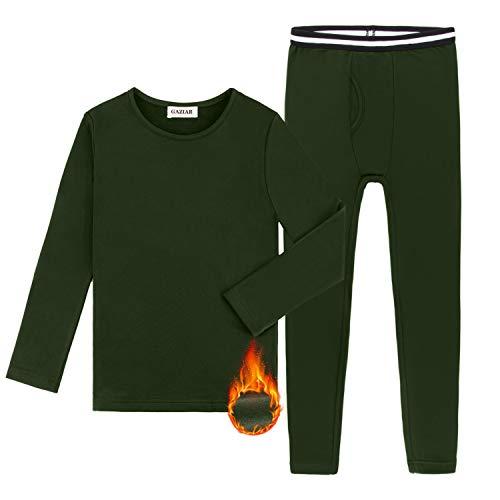 GAZIAR Boys Thermal Underwear Long John Set Ultra Soft Base Layer Kids Fleece Lined Tops and Bottoms 2 PCS Army Green 6-7Y
