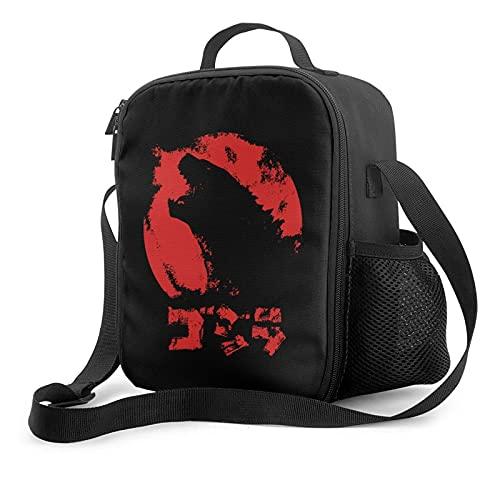 Godzilla Logo Bolsas porta alimentos Bolsa de almuerzo aislada unisex Cubeta de almuerzo reutilizable con correa para el hombro