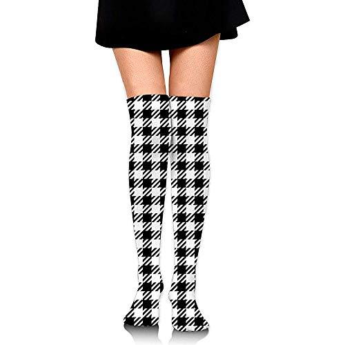 Web--ster-socks Calcetines de tubo hasta la rodilla para niñas, estampado de cuadros a cuadros blanco y negro de mujer linda sobre el muslo Medias largas y altas