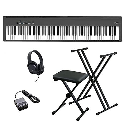 Roland ローランド 電子ピアノ FP-30X-BK+X型スタンド+X型イス ヘッドホン お手入れクロス セット