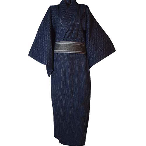 MAYSONG Men's Japanese Yukata Japanese Kimono Home Robe Pajamas Dressing Gown Dark Blue