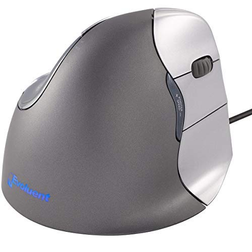 Evoluent VM4R VerticalMouse 4 Right Hand Ergonomic Mouse with Wired USB Connection (Regular Size),clear
