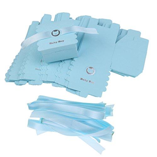 Gazechimp Geschenke Boxen,Gastgeschenke, Papier Geschenk Box, für Baby Shower Party 50 Stück - Blau, 6 x 6 x 4 cm
