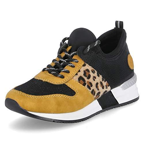 Rieker Damen Schnürhalbschuhe, Frauen sportlicher Schnürer, Halbschuh schnürschuh Sneaker,Gelb(Honig),39 EU / 6 UK
