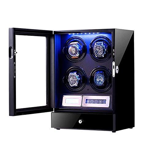 QCHEA Malen Sie die automatische Uhrenbeweger, Holz Storages Klavier Can Box for 4 Automatikuhren, mit justierbarem Uhr Kissen, LCD Touch Screen und Einbau-LED-Licht (Color : A)