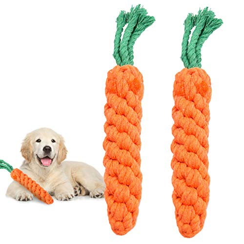MEKEET Dog Puppy Boredom Seilspielzeug, 2er Pack Baumwolle Natürliche Zähne Reinigung Kauseil Hunde Ballknoten Trainingsspielzeug Kleines Hundespielzeug