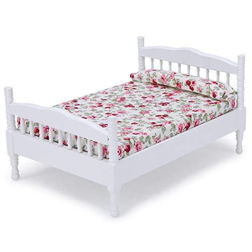 1:12 Cama de Madera de Casa de Muñecas Mini Casa de Muñecas Marrón Modelo de Cama de Dormitorio Accesorio de Decoración de Muebles Modelo de Escena de Muebles en Miniatura