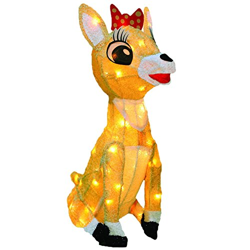 ProductWorks 26-Inch Rudolph 3D LED Pre-Lit Clarice The Reindeer Christmas Yard Art, 70 Lights