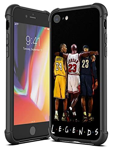 UUR Case Compatible with iPhone 7 iPhone 8 iPhone SE 2020, Hard PC Back with Soft TPU Edges, Shockproof Phone Case Sports Pattern Designed for Basketball Fans, Black (Legend-Kobe-Jordan-Lebron)