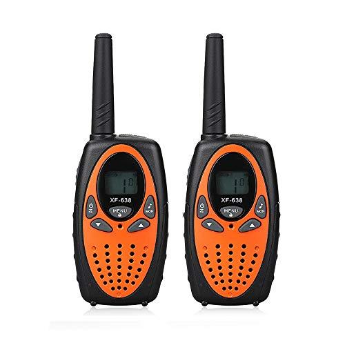 JHHXW Walkie Talkie, de 0,5 W Niños inalámbrica walkie Talkie, Pantalla LCD, 22/8 Canales, 2 vías de Radio, 3-5km Rango, monitorización de la función (2 Piezas)