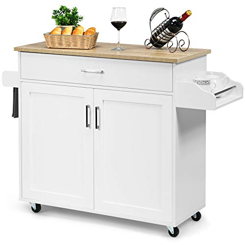 COSTWAY Küchenwagen mit Handtuchhalter und Gewürzboard, Kücheninsel mit Schublade und höhenverstellbare Ablage, Küchenschrank rollbar, Servierwagen aus Holz, Kücheninselwagen weiß