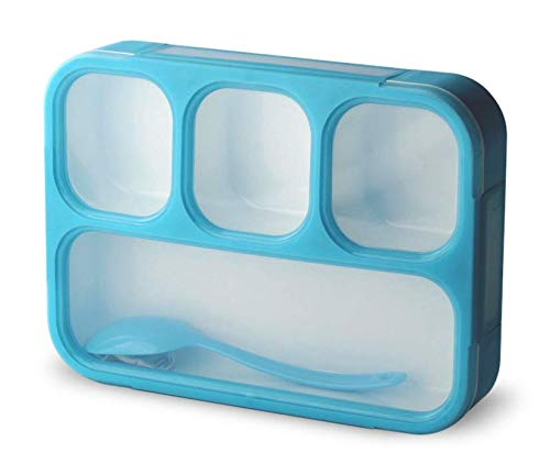 Leakproof Bento Lunch Box With 4 Compartments | Best Food Prep & Meal Planning Container For Kids And Adults | BPA Free | Microwave, Dishwasher and Freezer Safe By PlusPoint (Blue)