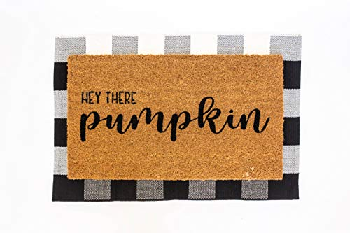Layered Outdoor Hey Pumpkin Mat Set - Coconut Coir (17-inch x 30-inch) and Woven Doormat (24-inch x 35-inch) Combo Inside or Outside Pet Friendly Rug for Entry Porch, or Patio (Black and White Plaid)