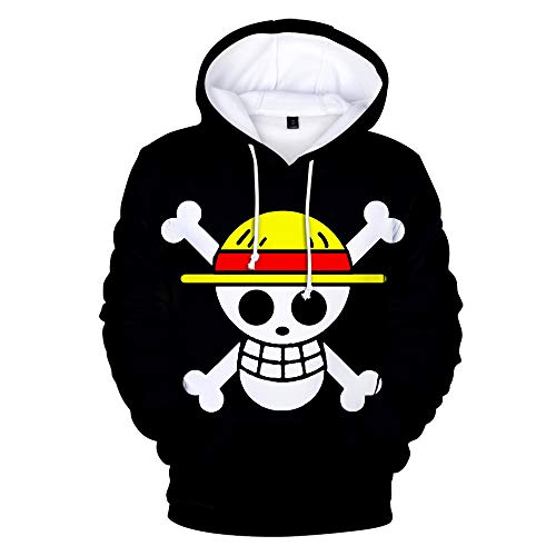 One Piece Hoodie Luffy Sweatshirt Anime Cosplay Hooded Pullover Long Sleeve Black