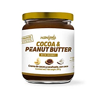 Crema de Cacao con Cacahuete y Coco de HSN   100% Natural   Cocoa & Peanut Butter   Apto Vegetariano - Sin grasa de palma - Sin grasa trans - Sin azúcar ni sal añadidos - 250g