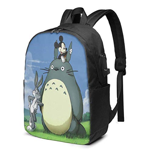 to-t-oro Cartoon Mouse USB Backpack Travel Laptop Backpack Unisex Lightweight with USB Charging Port Knapsack Backpack 17 in