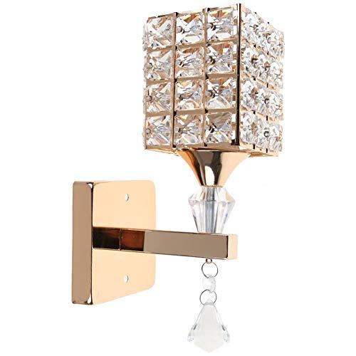 Modern Crystal Lámpara de pared colgante Dormitorio Pasillo Living Room Lámpara de pared con portalámpara E14, bombilla no incluida (Oro)