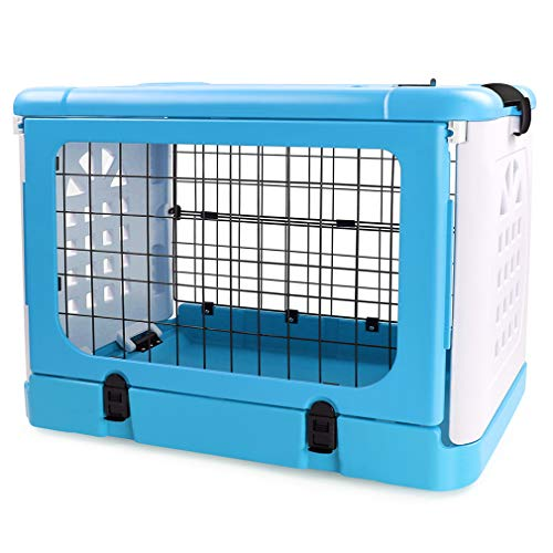P&BJoiner Pet Carrier Dog Cage, Four-Sides Folding Animal Carrier Travel Cage Household and Car Pet Folding Cage Carrier Basic Crates, Great for Travel, Home and Outdoor (Blue) Categories