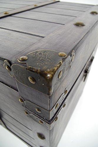 Truhe Kuba im Schatzkistendesign aus grauem Holz - 6
