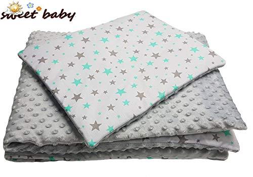 Sweet Baby ** Pack Complet MINKY BUBU ** Couverture + Coussin 75x100cm ** Bébé et Enfant - Ultra Douce - Fabriqué en Europe - Entretien Facile - Cadeau Naissance (Twinkle Stars Mint)