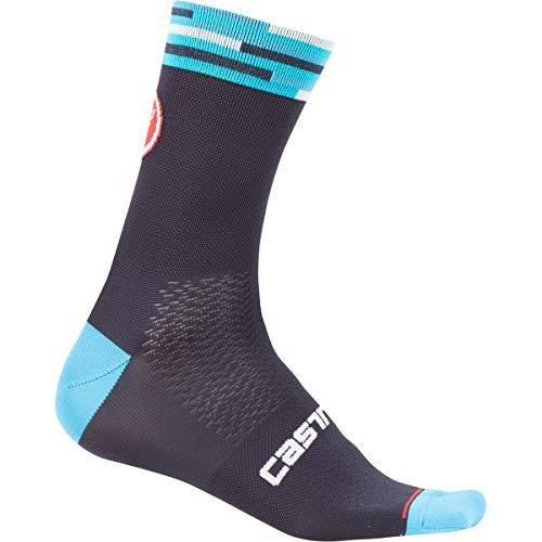 CASTELLI A Bloc 13 Unisex Socken - Erwachsene Dark Steel Blue/Red, L/XL