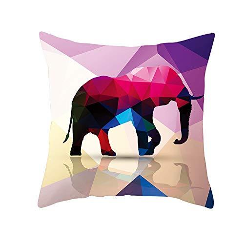 Almohada Decorativa con Relleno Elefante de color Pillowcase,45x45cm Grande Rectangular Suave Cuadrado Cojines Ninos Throw Pillow Case para Sofá Coche Decoración para Hogar Fundas para Cojín B2956