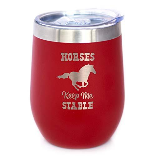 Weinbecher mit Schiebedeckel – Stiellose Edelstahl-Isolierbecher – lustige Geschenke für Pferdeliebhaber Casual rot