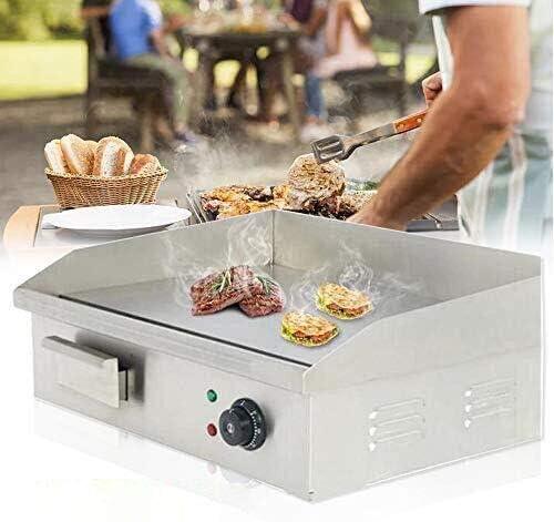 Shikha 22 Electric Countertop Griddle 110V 3000W Non Stick Commercial Restaurant Teppanyaki product image