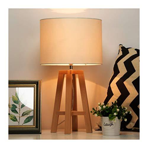 WFL - Lámpara de escritorio de madera maciza simple Nordic Light, tela de arriba, 1 E14 regulable, estudio del niño, salón, decoración interior, dormitorio nocturna, lámpara de mesa de alta calidad.